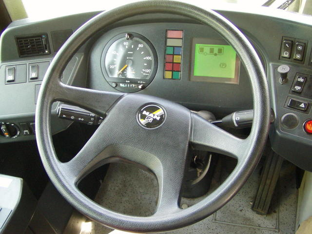 an MAN bus steering wheel driver view